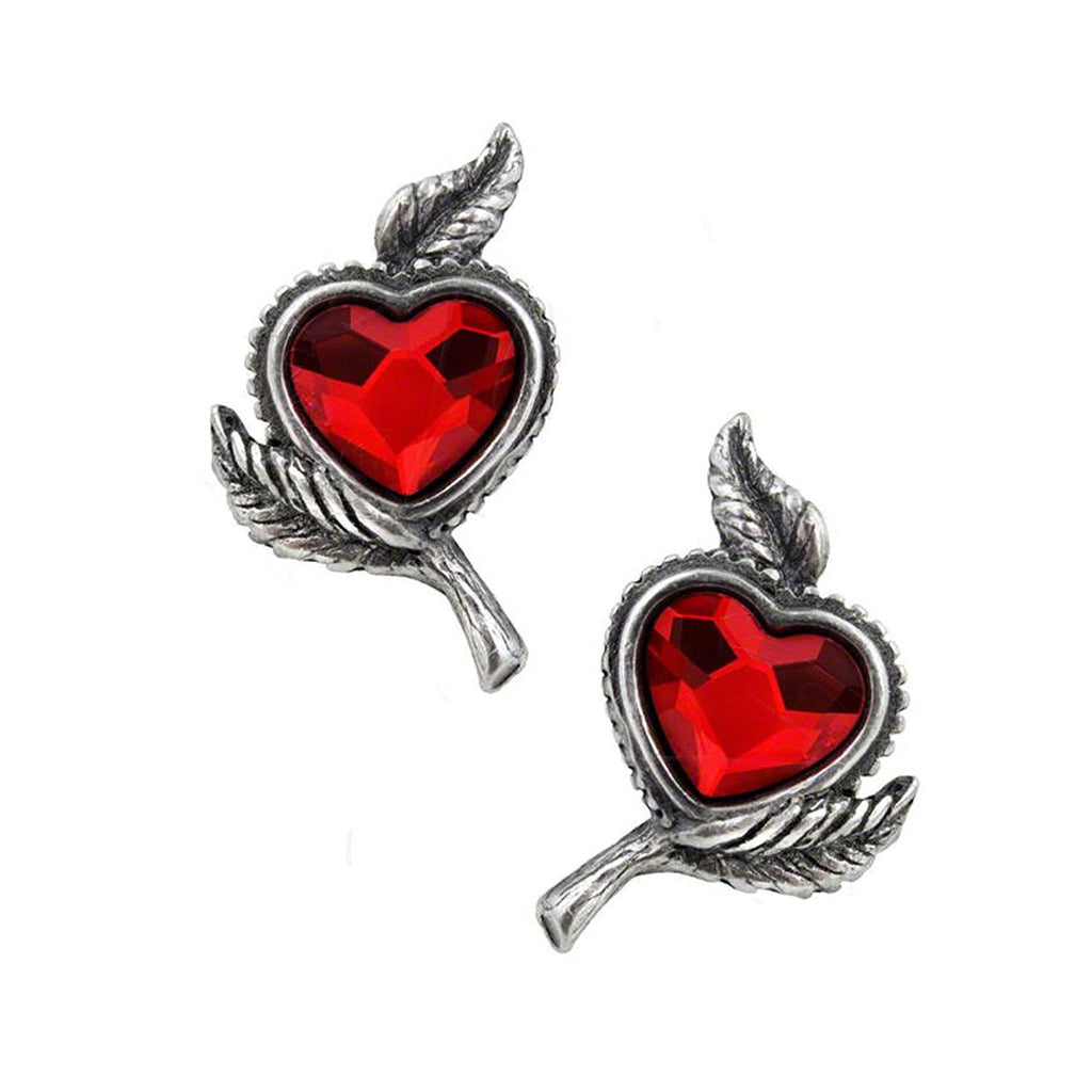 Love's Blossom Red Crystal Heart Alchemy Gothic Earrings