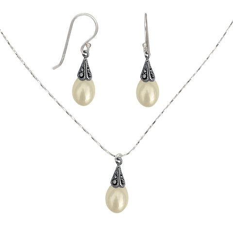 Antiqued Sterling Silver Marcasite Freshwater Pearl Pendant Necklace and Earring Jewelry Set