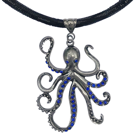 Large Pewter Octopus Pendant Choker Necklace with Blue CZ and Rhinestones on Thick Leather Cord