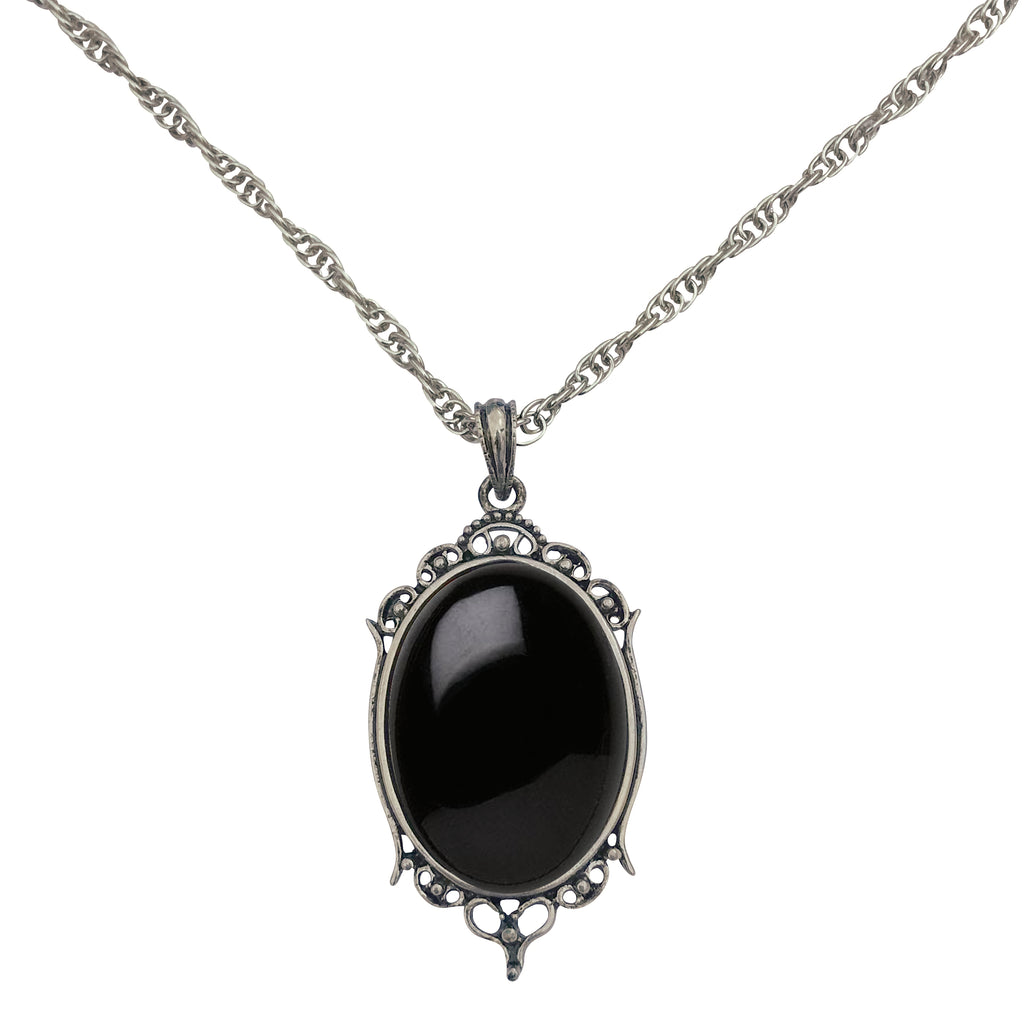Antique Silver Black Onyx Gemstone Cabochon Pendant on Fancy Rope Chain Necklace, 24""