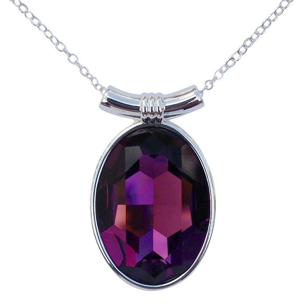 "Amethyst Swarovski Crystal Oval Pendant on 18"" 2mm Silver-Plated Necklace"