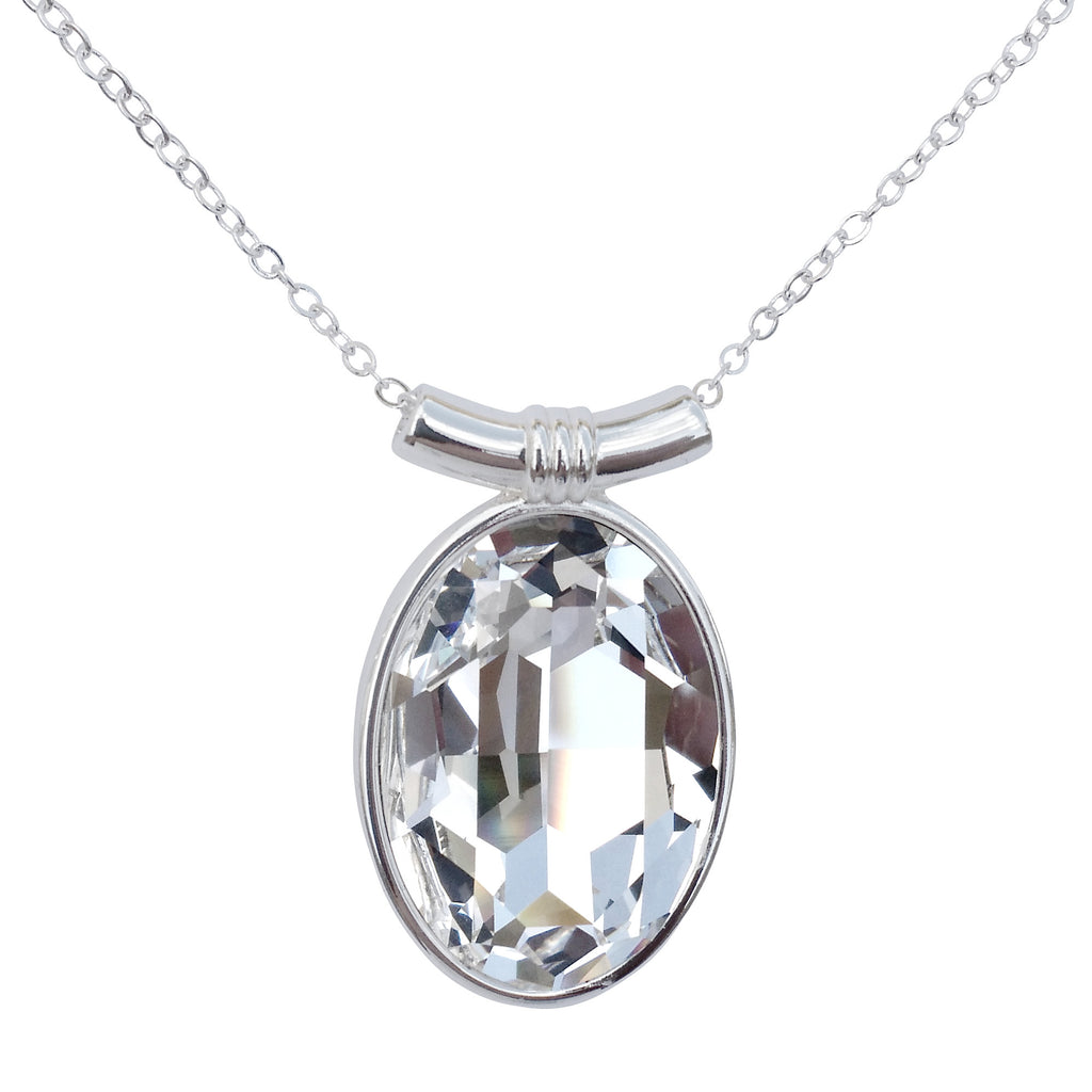 "DragonWeave Diamond Clear Swarovski Crystal Oval Pendant on 18"" 2mm Silver-Plated Necklace"