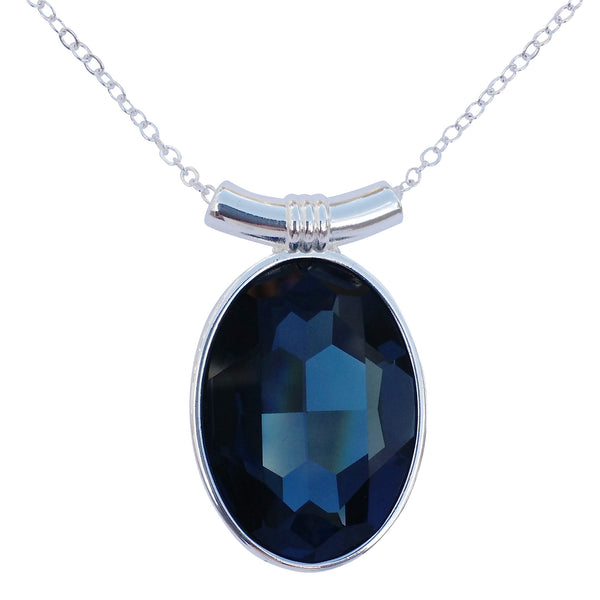 "Sapphire Blue Swarovski Crystal Oval Pendant on 18"" 2mm Silver-Plated Necklace"