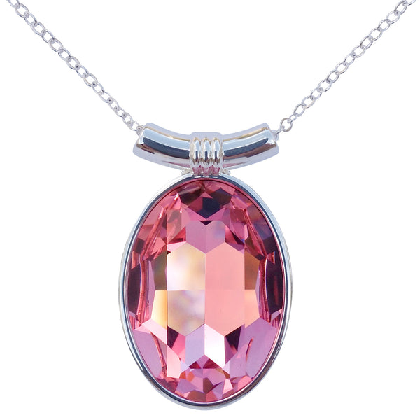 "DragonWeave Pink Rose Swarovski Crystal Oval Pendant on 18"" 2mm Silver-Plated Necklace"
