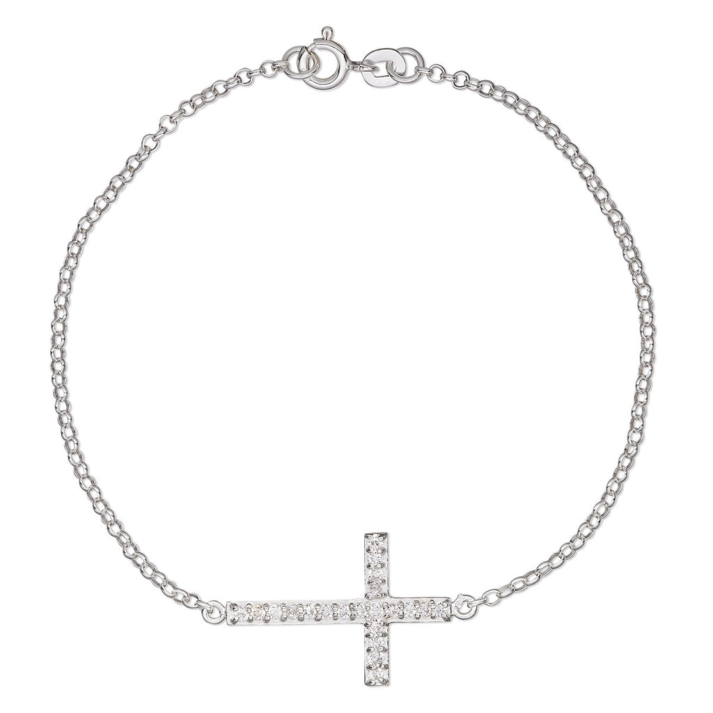 Sterling Silver in-Line Cross Charm Bracelet with Cubic Zirconia Pave Rhinestones, 7""