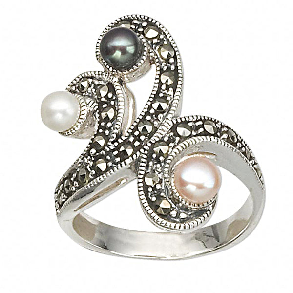 Vintage Victorian Triple Pearl Marcasite Sterling Silver Fashion Ring, Size 7.5