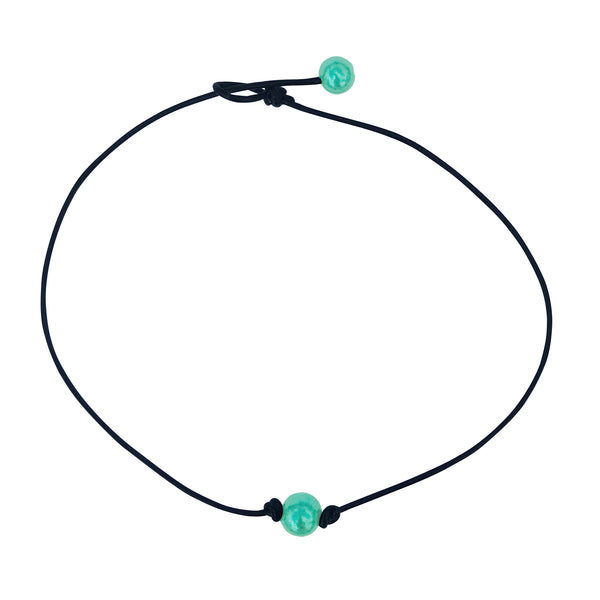 Single Aqua Blue Pearl Leather Choker Necklace for Women and Girls Handmade