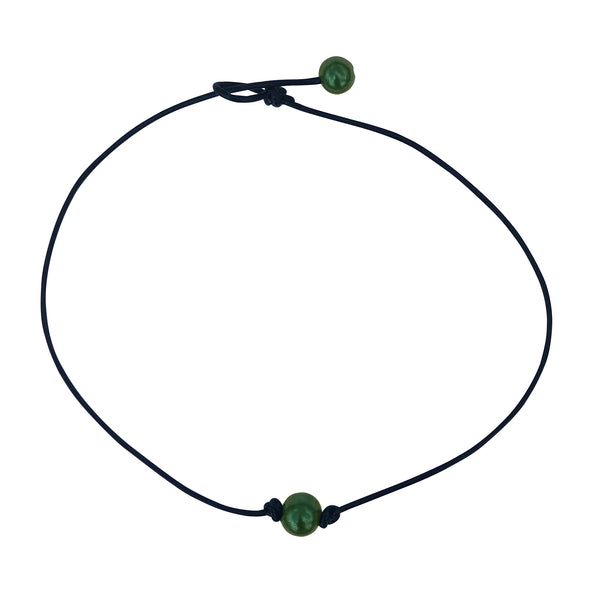Single Forest Green Pearl Leather Choker Necklace for Women and Girls Handmade