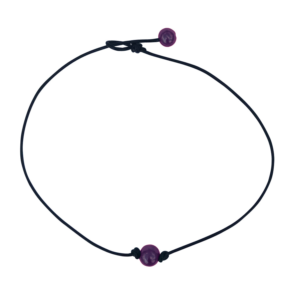 Single Purple Pearl Leather Choker Necklace for Women and Girls Handmade