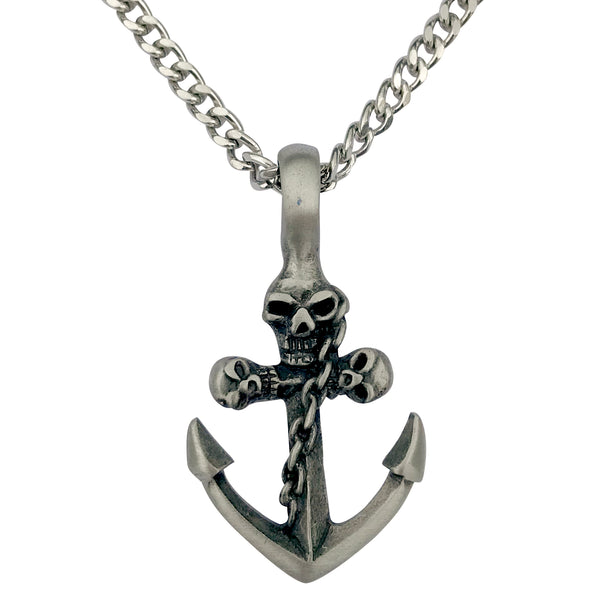 Pewter Anchor with Gothic Skulls Pendant with Extra Large Bail, on Men's Heavy Curb Chain Necklace, 24""