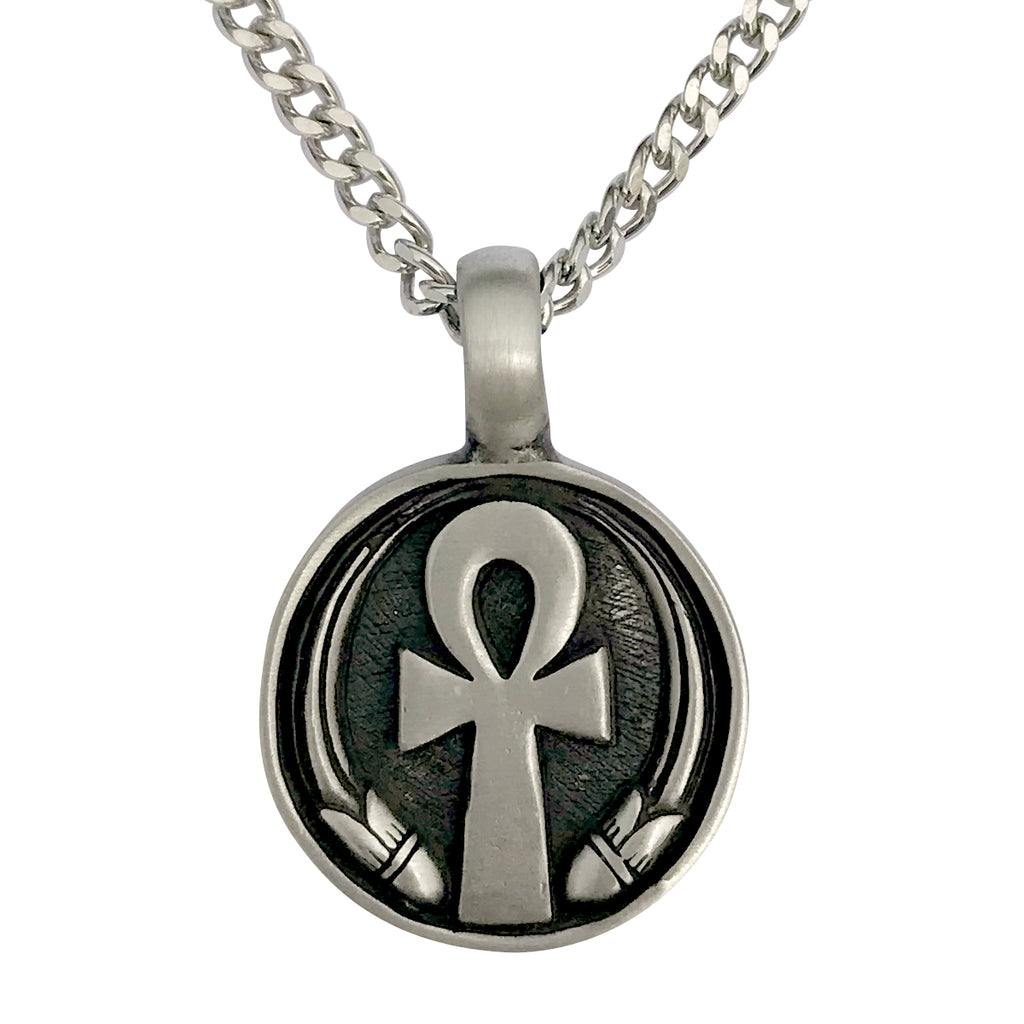 Pewter Egyptian Ankh Pendant with Extra Large Bail, on Men's Heavy Curb Chain Necklace, 24""