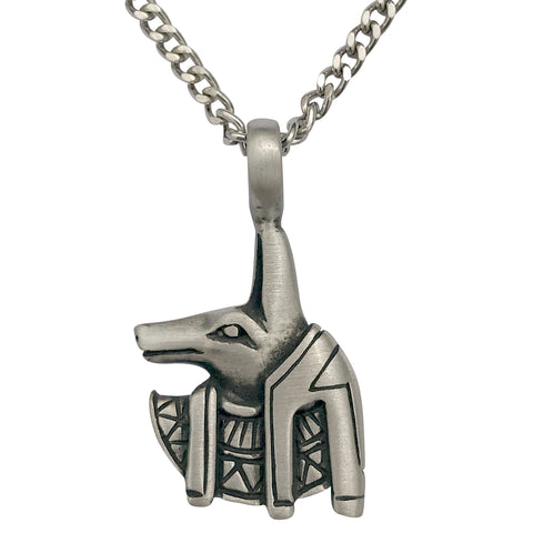 Pewter Egyptian Anubis Pendant with Extra Large Bail, on Men's Heavy Curb Chain Necklace, 24""