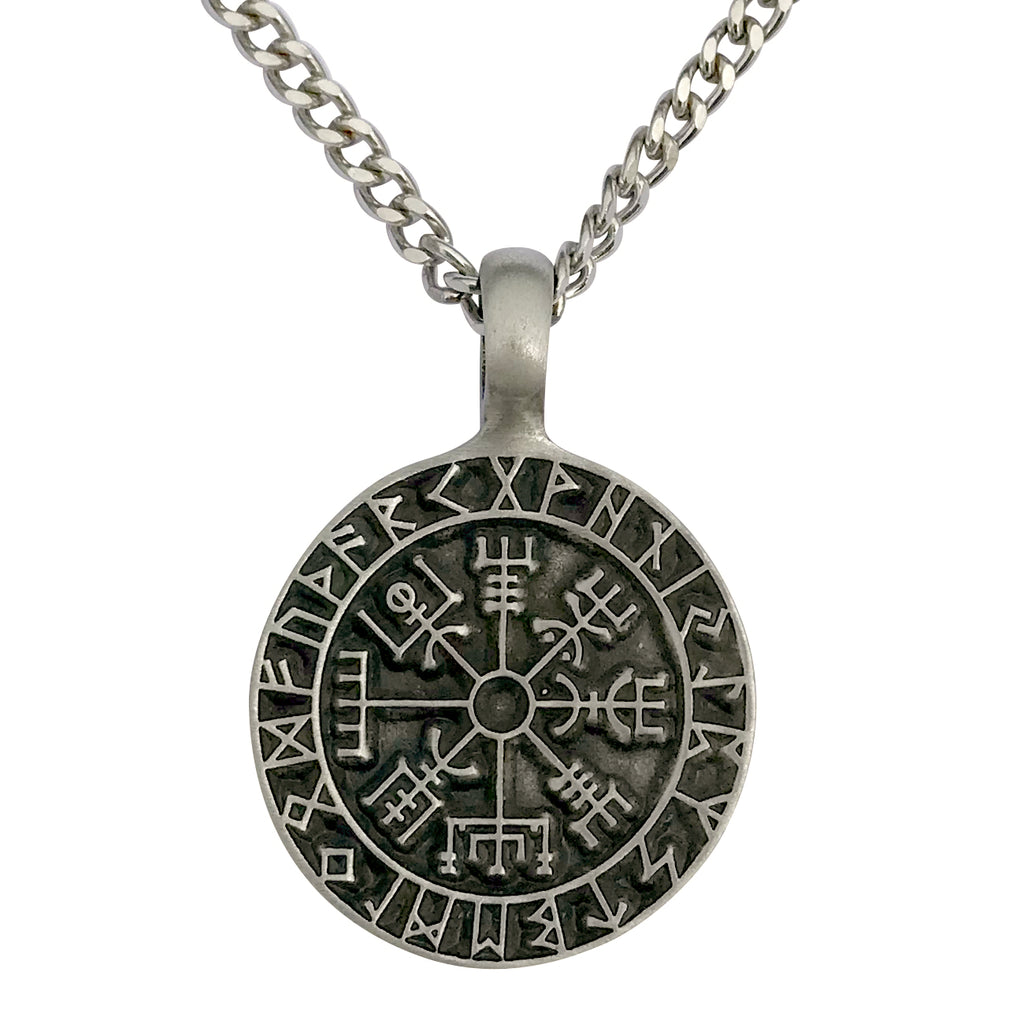 Pewter Gothic Viking Compass Rune Pendant with Extra Large Bail, on Men's Heavy Curb Chain Necklace, 24""