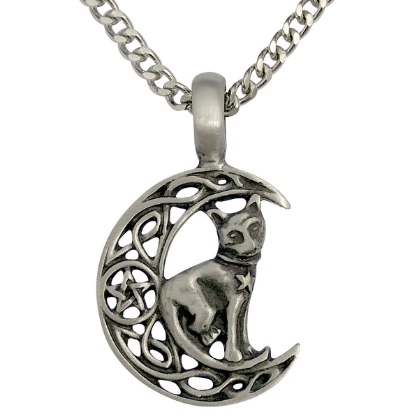 Pewter Celtic Moon Cat Pendant with Extra Large Bail, on Men's Heavy Curb Chain Necklace, 24""