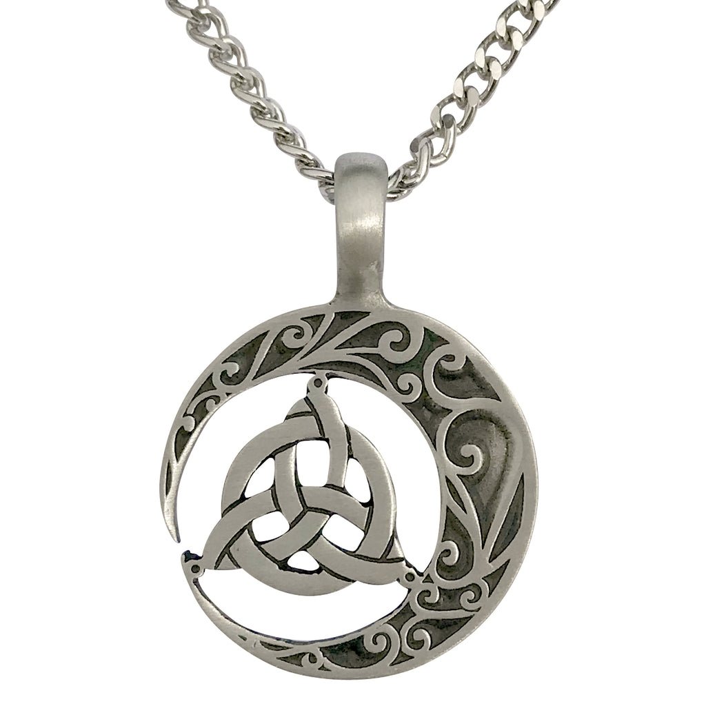 Pewter Celtic Crescent Moon Pendant with Extra Large Bail, on Men's Heavy Curb Chain Necklace, 24""