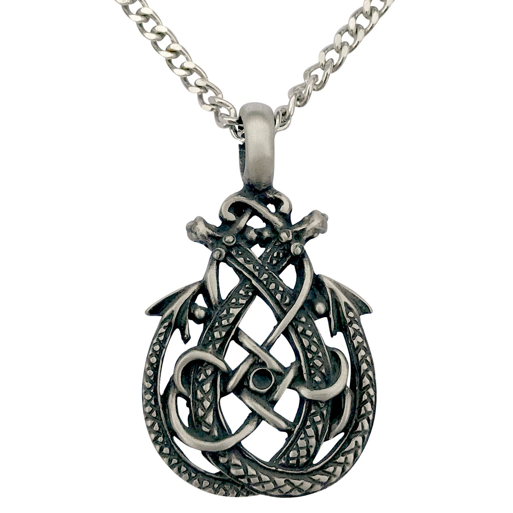 Pewter Celtic Double Dragon Pendant with Extra Large Bail, on Men's Heavy Curb Chain Necklace, 24""