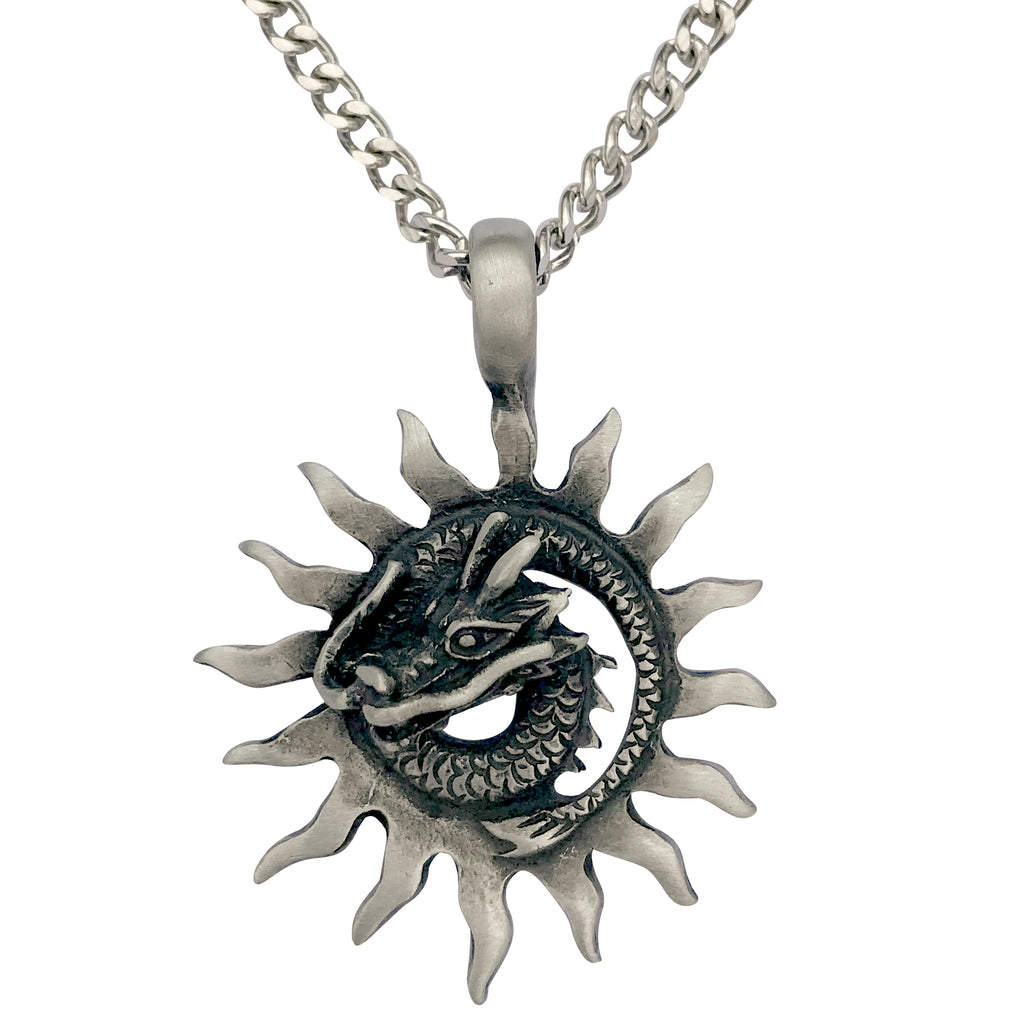 Pewter Sun Dragon Pendant with Extra Large Bail, on Men's Heavy Curb Chain Necklace, 24""