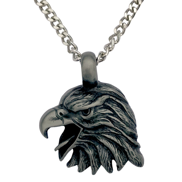 Pewter Eagle Head Pendant with Extra Large Bail, on Men's Heavy Curb Chain Necklace, 24""
