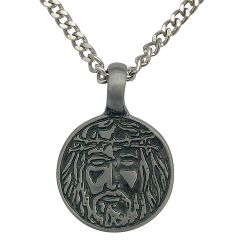 Pewter Jesus Christ Face Pendant with Extra Large Bail, on Men's Heavy Curb Chain Necklace, 24""
