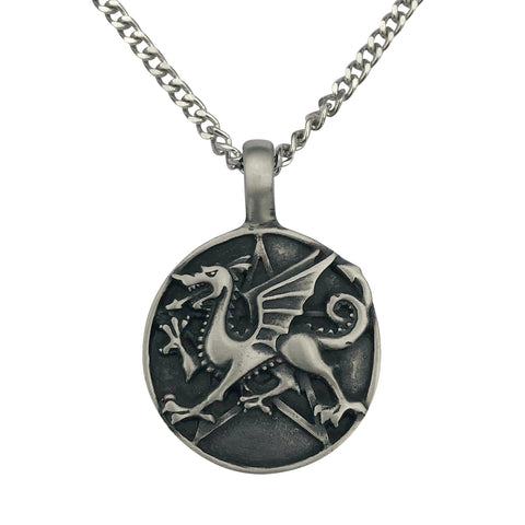 Pewter Dragon Pentagram Pendant with Extra Large Bail, on Men's Heavy Curb Chain Necklace, 24""