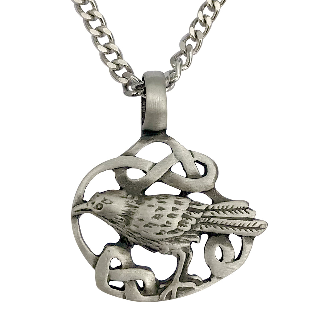Pewter Raven Celtic Knot Pendant with Extra Large Bail, on Men's Heavy Curb Chain Necklace, 24""