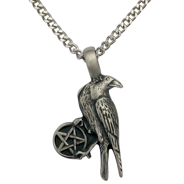 Pewter Gothic Raven Pentagram Pendant with Extra Large Bail, on Men's Heavy Curb Chain Necklace, 24""