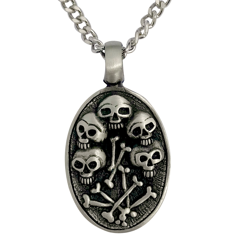 Pewter Gothic Skulls & Bones Oval Pendant with Extra Large Bail, on Men's Heavy Curb Chain Necklace, 24""