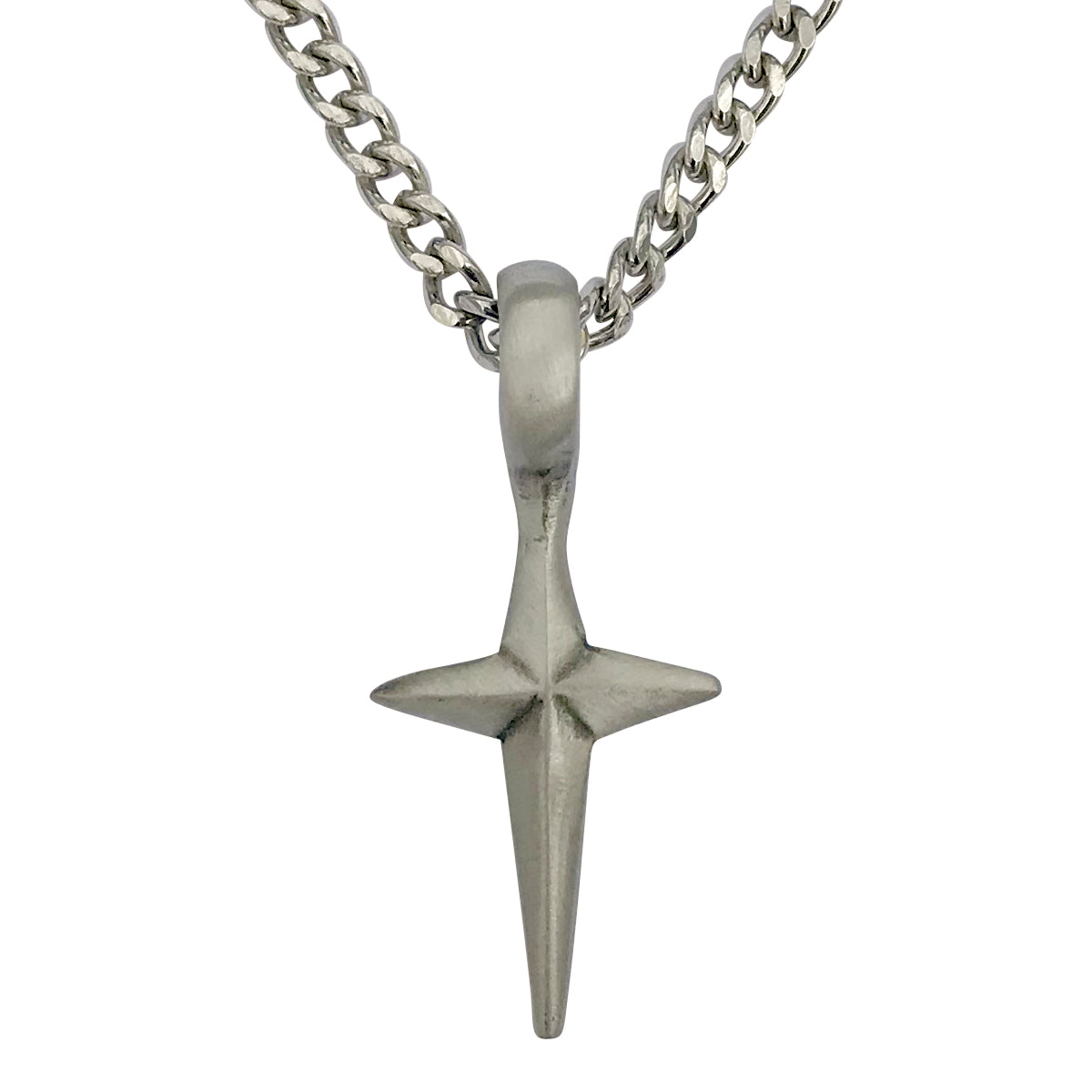 dd4d2feb4e00e Pewter Spike Cross Pendant with Extra Large Bail, on Men's Heavy Curb Chain  Necklace, 24