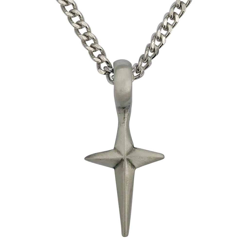 Pewter Spike Cross Pendant with Extra Large Bail, on Men's Heavy Curb Chain Necklace, 24""