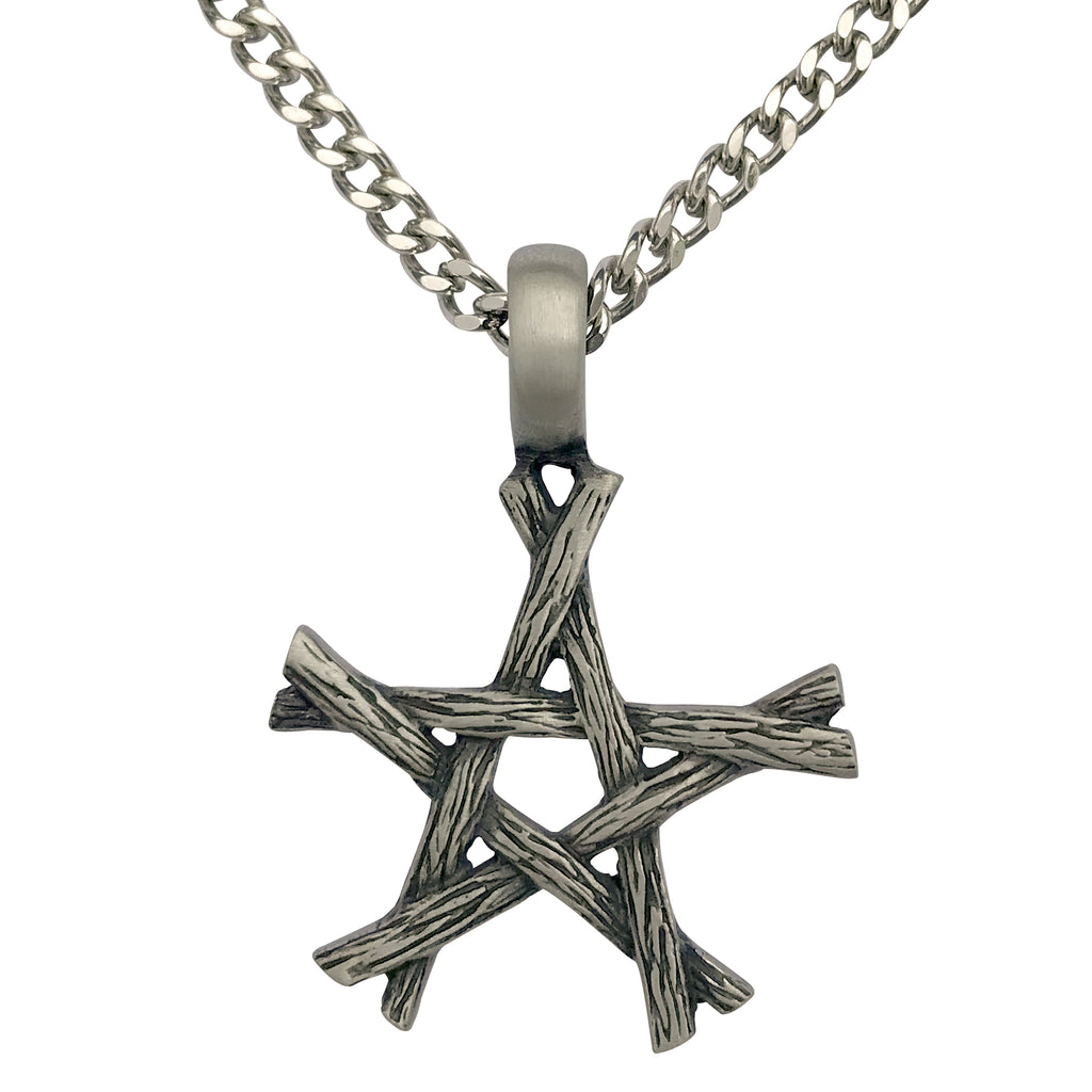 Pewter Wiccan Branch Pentagram Pendant with Extra Large Bail on Mens Heavy Curb Chain Necklace, 24""
