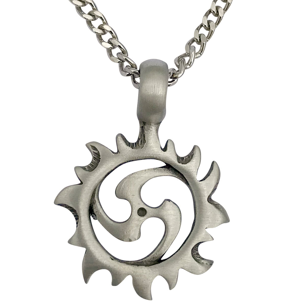 Pewter Tribal Sun Spiral Pendant with Extra Large Bail, on Men's Heavy Curb Chain Necklace, 24""