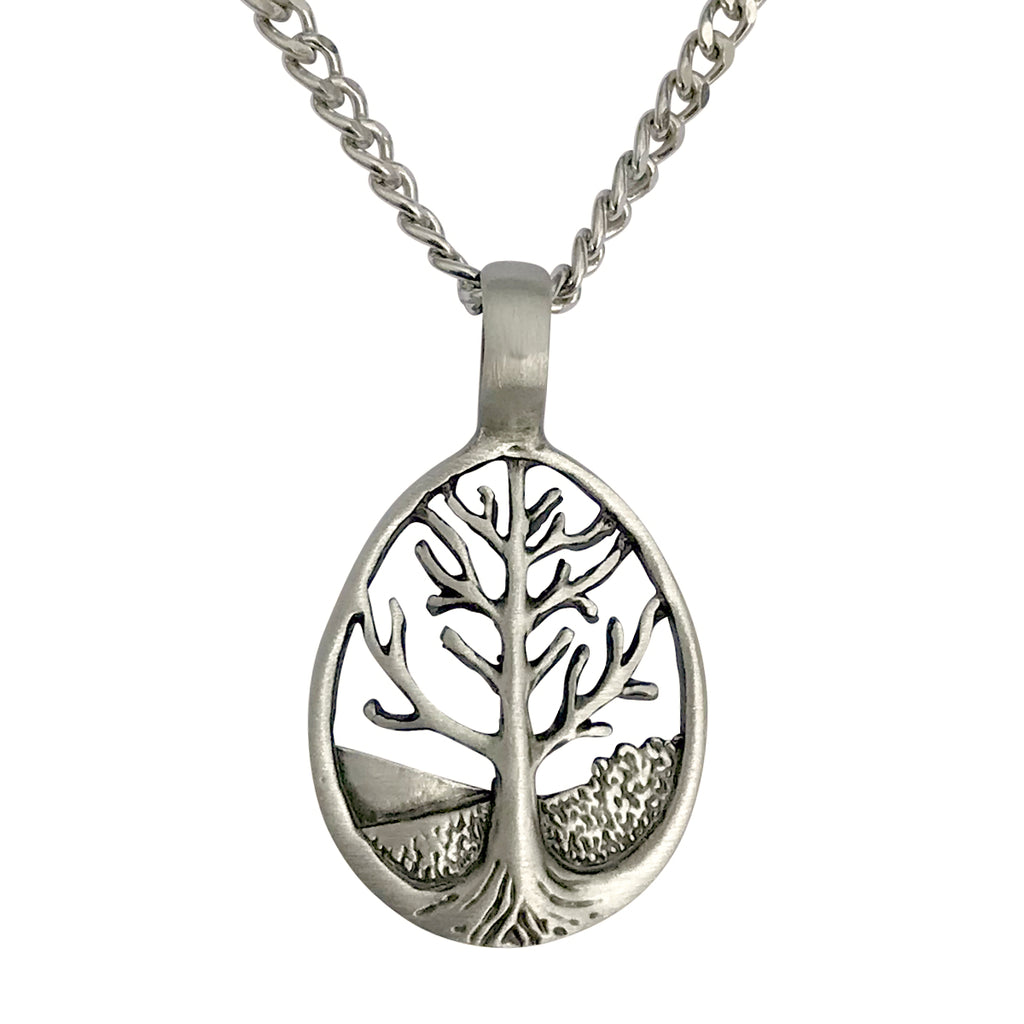 Pewter Tree of Life Pendant with Extra Large Bail, on Men's Heavy Curb Chain Necklace, 24""