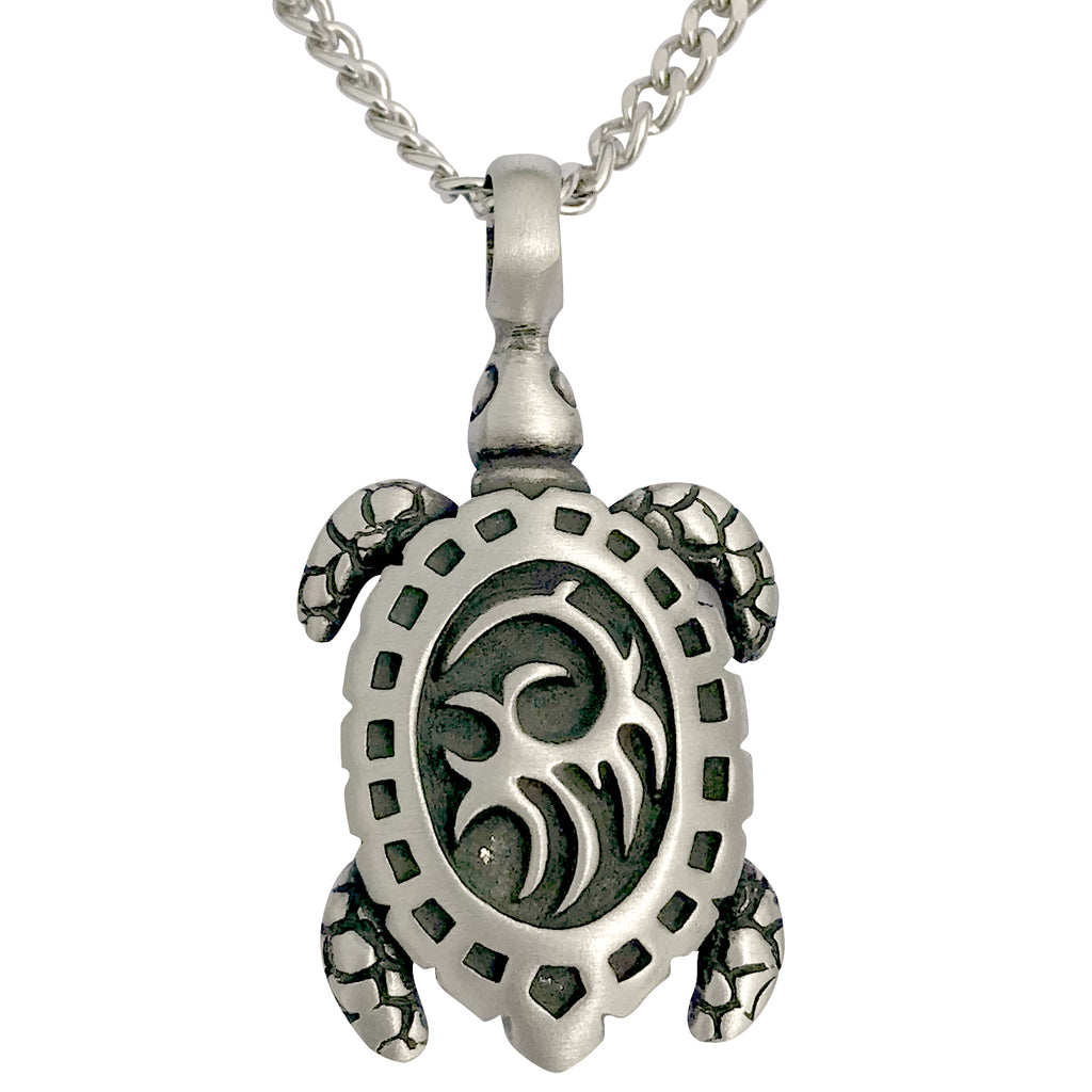 Pewter Sea Turtle Tribal Pendant with Extra Large Bail, on Men's Heavy Curb Chain Necklace, 24""
