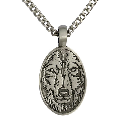 Pewter Wolf Head Etched Face Pendant with Extra Large Bail, on Men's Heavy Curb Chain Necklace, 24""