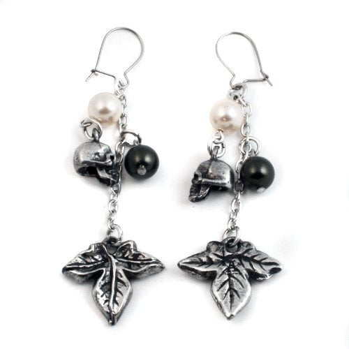 Poison Ivy Crystal Pearl Skull Alchemy Gothic Earrings