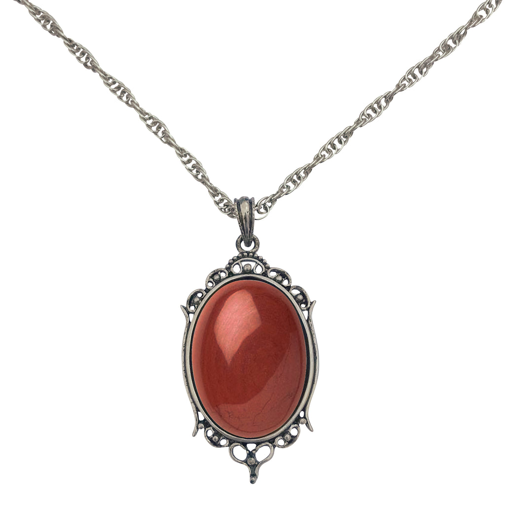 Antique Silver Red Jasper Gemstone Cabochon Pendant on Fancy Rope Chain Necklace, 24""