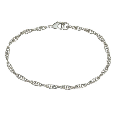 3mm Silver Plated Rope Chain Bracelet with Lobster Claw Clasp