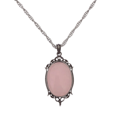 Antique Silver Rose Quartz Gemstone Cabochon Pendant on Fancy Rope Chain Necklace, 24""