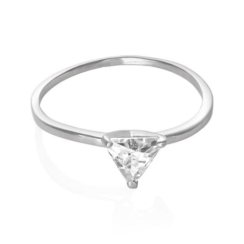 Petite Triangle Cut Trillion Cubic Zirconia Sterling Silver CZ Solitaire Fashion Ring