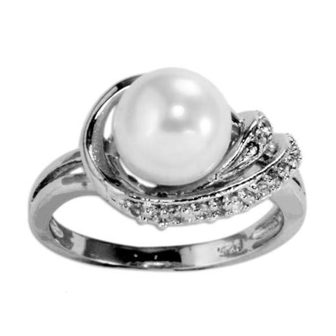 Sea Treasure Faux Pearl with Cubic Zirconia CZ Pave Sterling Silver Fashion Statement Ring