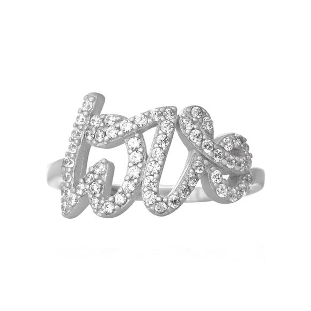 Love Script Word Cubic Zirconia CZ Pave Sterling Silver Fashion Statement Ring