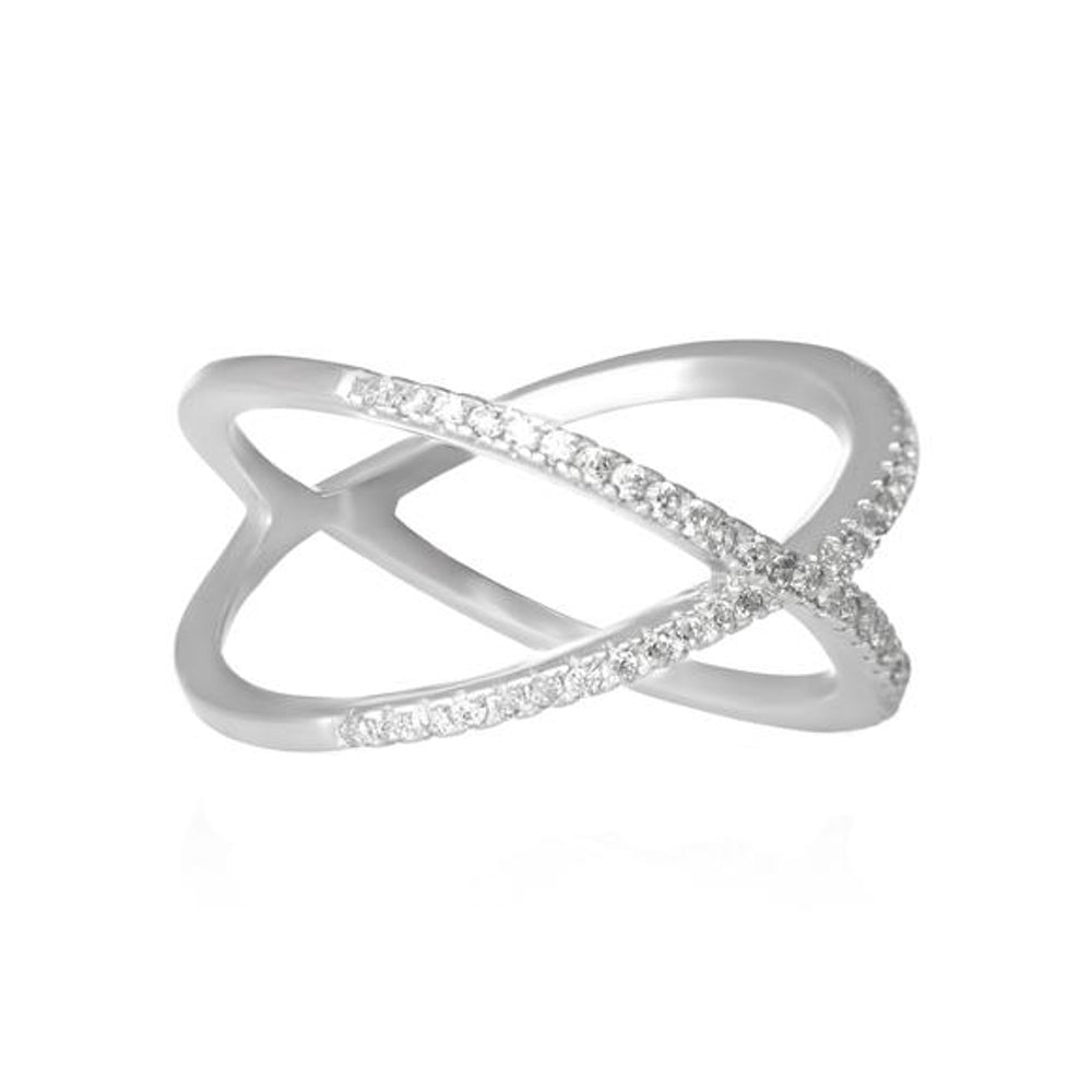 Michelle Criss-cross sterling silver ring set with pav\u00e9 CZ stones.
