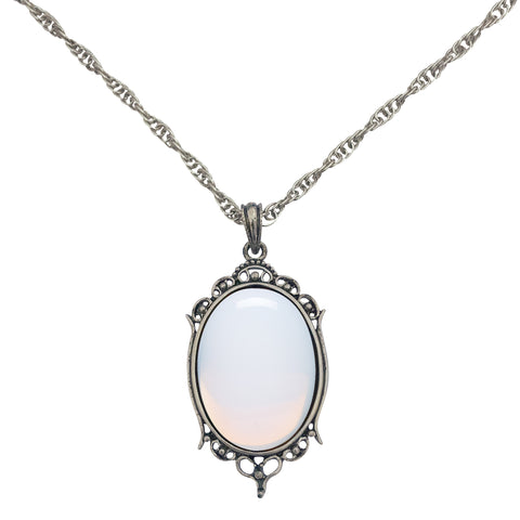 Antique Silver Opal Sea Glass Cabochon Pendant on Fancy Rope Chain Necklace, 24""