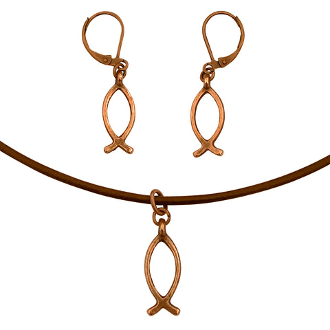 Christian Fish Symbol Charm Necklace & Earring Set, Antique Copper Brown Leather Adjustable