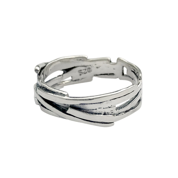 Ultra Modern Layered Art Fashion Ring Band in Sterling Silver