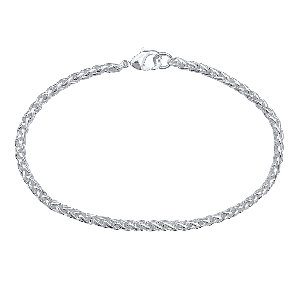 Silver 3.2mm Thick Ponytail/Foxtail/Wheat Weave Chain Bracelet