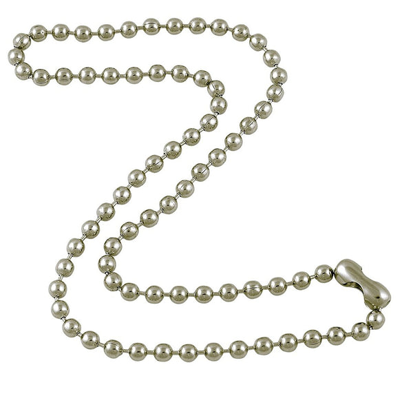 4.8mm Large Silver Tone Steel Ball Chain Necklace with Extra Durable Color Protect Finish