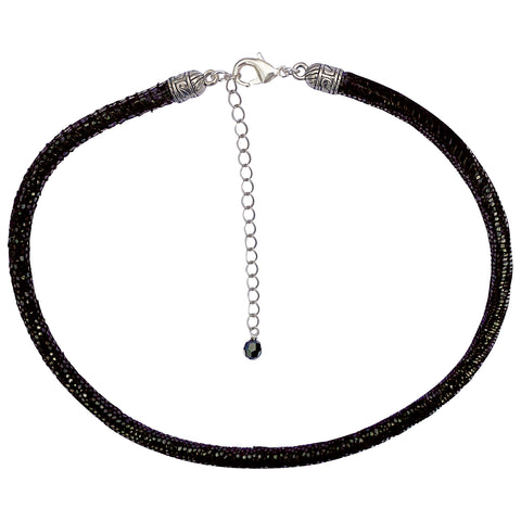 Black Leather Sparkly Snakeskin Choker Necklace with Silver Extender Chain & Swarovski Crystal