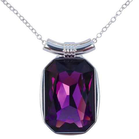 "Amethyst Swarovski Crystal Square/Emerald Cut Pendant on 18"" 2mm Silver-Plated Necklace"