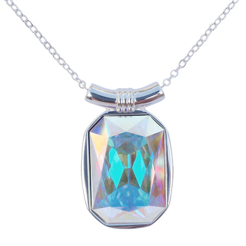 "DragonWeave Aurora Diamond Swarovski Crystal Square/Emerald Cut Pendant on 18"" 2mm Silver-Plated Necklace"